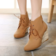 Shoespie Lace-Up Wedge Heel Ankle Boots