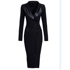 Shoespie Plain Patchwork Lapel Women's Bodycon Dress