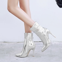 Buckle Stiletto Heel Metallic Ankle Boots
