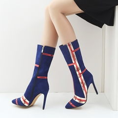 Color Block Fashion Stiletto Heel Knee High Boots