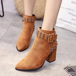 Rivet Buckle Pointed Toe Suede Ankle Boots