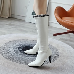 Lace Purfle Plain Pointed Toe Knee High Boots