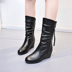 Black Plain Casual Hidden Heel Ankle Boots
