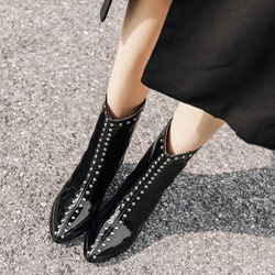 Black Rivet Casual Pointed Toe Ankle Boots