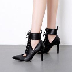 Shoespie Black Hollow Lace-Up Ankle Boots