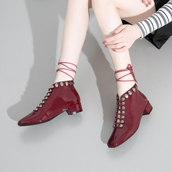 Plain Rivet Casual Lace-Up Ankle Boots