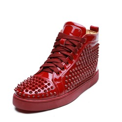 Burgundy Rivet Lace-Up High Upper Men's Sneakers