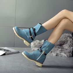 Buckle Side Zipper Fashion Ankle Boots