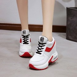 Round Toe Platform Color Block Wedge Sneakers