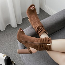 Hollow Casual Peep Toe Ankle Boots