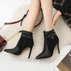 Rivet Casual Pointed Toe Stiletto Heel Ankle Boots
