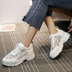 Hollow Lace Platform Wedge Sneakers