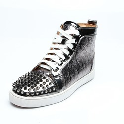 Shoespie Rivet Silver Lace-Up Men's Sneakers