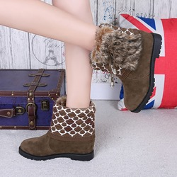 Geometric Suede Wedge Heel Ankle Boots