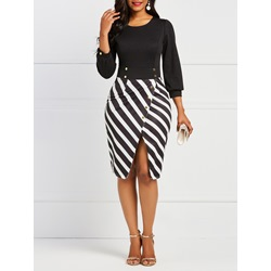 Shoespie Patchwork Stripe Button Women's Bodycon Dress