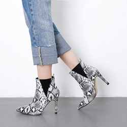 Serpentine Pointed Toe Stiletto Heel Chelsea Boots