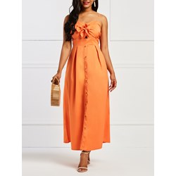 Shoespie Backless Lace-Up Button Women's Maxi Dress