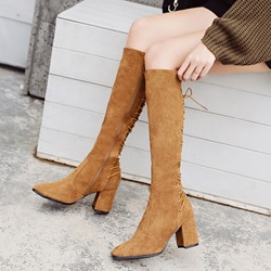 Casual Cross Strap Suede Knee High Boots