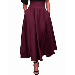 Expansion Ankle-Length Plain High-Waist Women's Skirt
