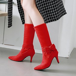 Casual Bow Kitten Heel Knee High Boots