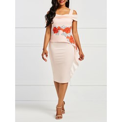 Shoespie Embroidery Floral Women' Bodycon Dress