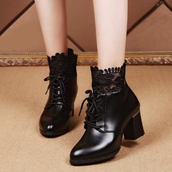 Black Cross Strap Lace Back Zip Ankle Boots