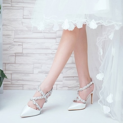 Rhinestone Silk Pointed Toe Wedding Shoes