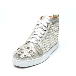 Silver Rivet Lace-Up High Upper Men's Sneakers