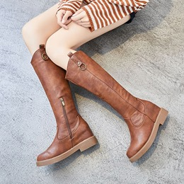 Shoespie Casual Side Zipper Hidden Heel Knee High Boots