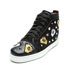 Shoespie Embroidery Black Casual Men's Sneakers