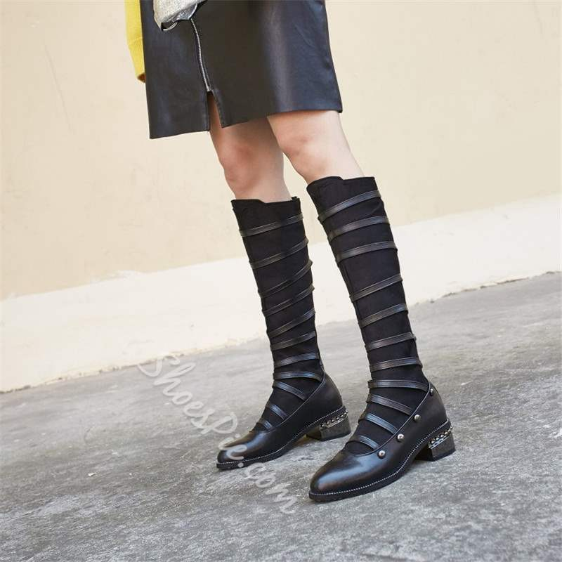 Rivet Round Toe Casual Knee High Boots