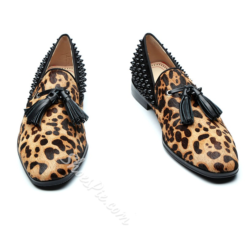 Leopard Rivet Slip-On Men's Loafers
