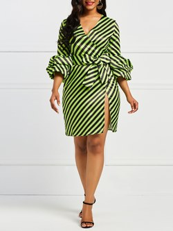 V Neck Stripe Polyester Women's Bodycon Dress
