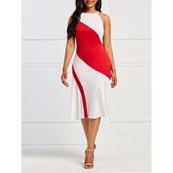 Shoespie Expansion Color Block Women's Bodycon Dress
