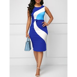 Color Block Print Bowknot Women's Bodycon Dress