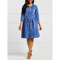 Shoespie Lapel Plain Denim Women's Maxi Dress