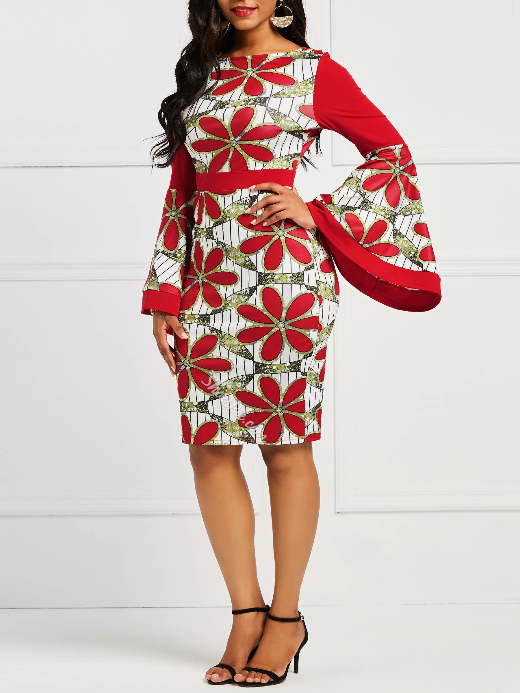 Shoespie Round Neck Red Floral Women's Bodycon Dress