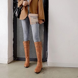 Hollow Buckle Casual Slip-On Knee High Boots