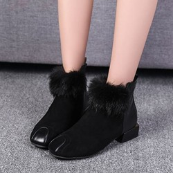 Black Casual Suede Side Zipper Ankle Boots