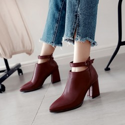Shoespie Buckle Casual Ankle Boots