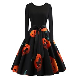 Polyester Halloween Vintage Women's Skater Dress