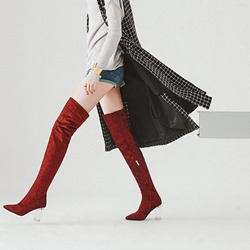 Pointed Toe Plain Fashion Thigh High Boots