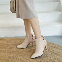 Suede Bowknot Casual Ankle Boots