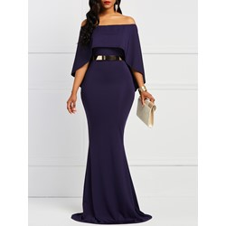 Slash Neck Floor-Length Polyester Western Women's Maxi Dress