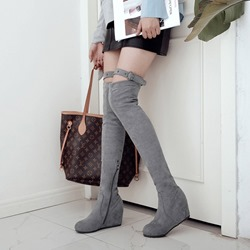 Fashion Hidden Heel Buckle Thigh High Boots