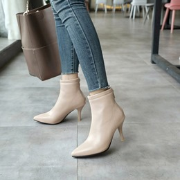 Casual Plain Pointed Toe Ankle Boots