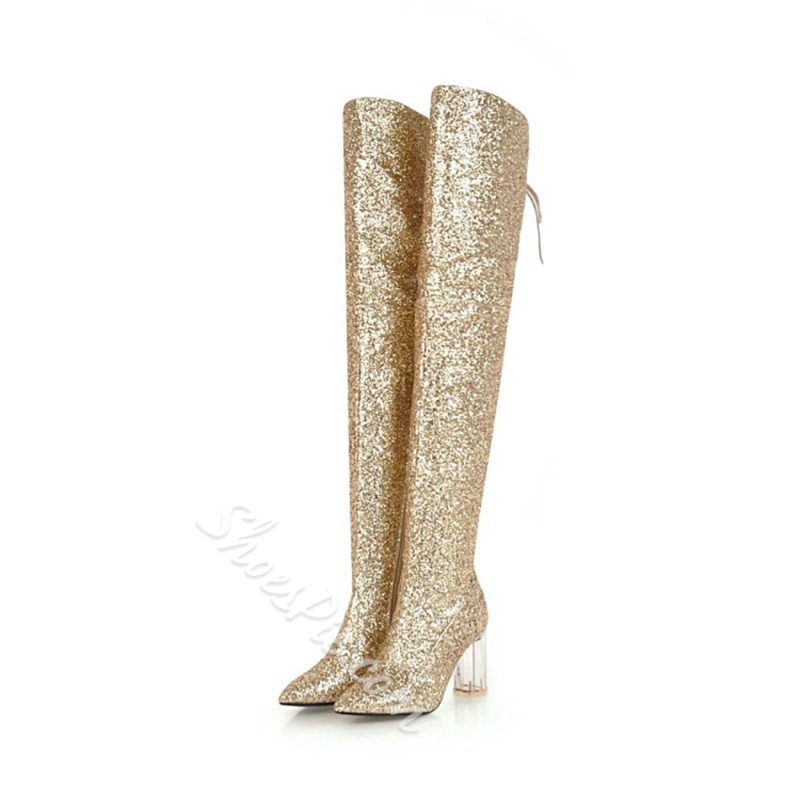 Shoespie Lace-Up Glitter Thigh High Boots