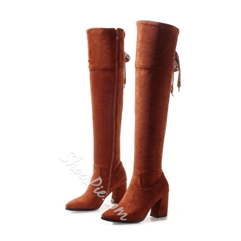 Lace-Up Casual Plain Knee High Boots