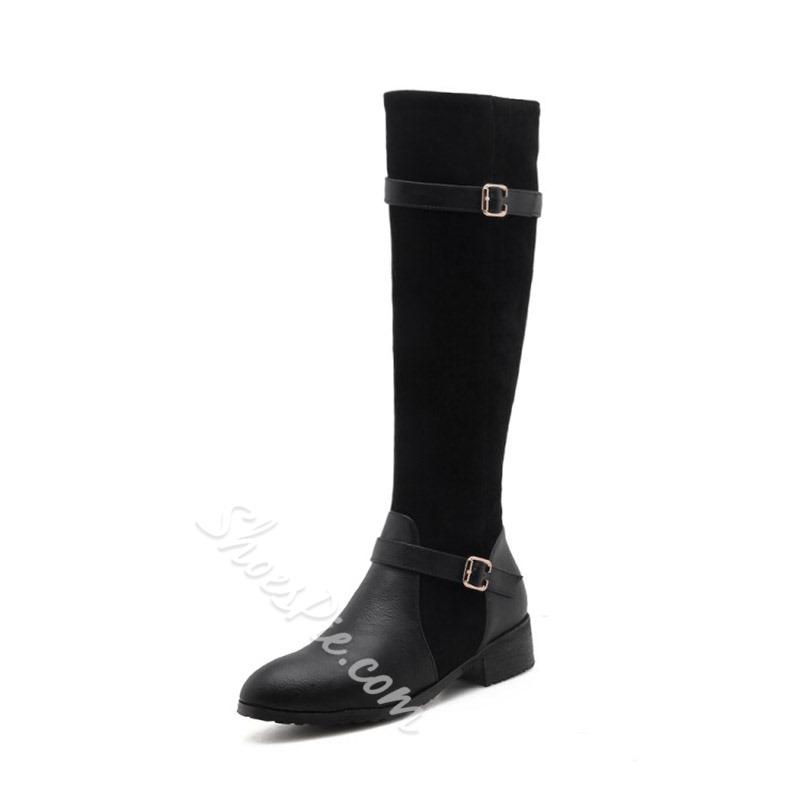 Buckle Casual Side Zipper Knee High Boots