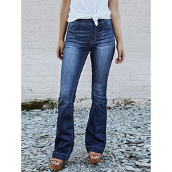 Bellbottoms Plain Mid-Waist Women's Jeans